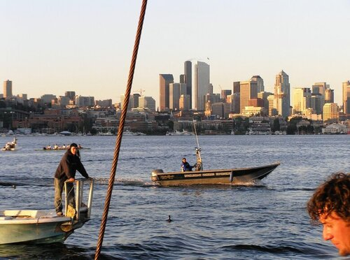 A Muckleshoot tribal fisherman out for sockeye in Lake Union in 2006, the last time Seattle's signature sockeye run was abundant enough for a fishery.     (Eric Warner, Muckleshoot Indian Tribe)