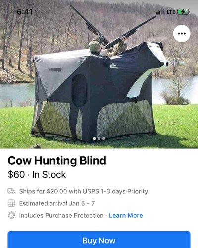 Image may contain: text that says 'Cow Hunting Blind $60 In Stock Ships for $20.00 with USPS 1-3 days Priority Estimated arrival Jan Includes Purchase Protection Learn More Buy Now'