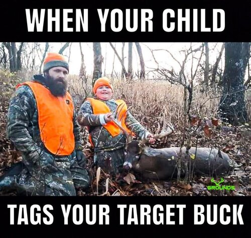 Image may contain: 2 people, meme and outdoor, text that says 'WHEN YOUR CHILD TAGS YOUR TARGET BUCK'