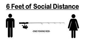 A fishing rod between two people