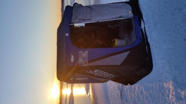 Otter Cabin flip over Ice Shelter with Custom Smitty Sled