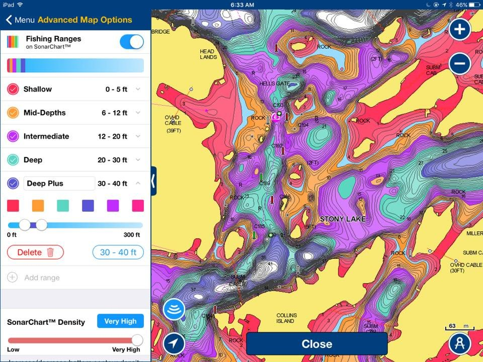 Colors depht shading available on Navionics app - This Old Boat