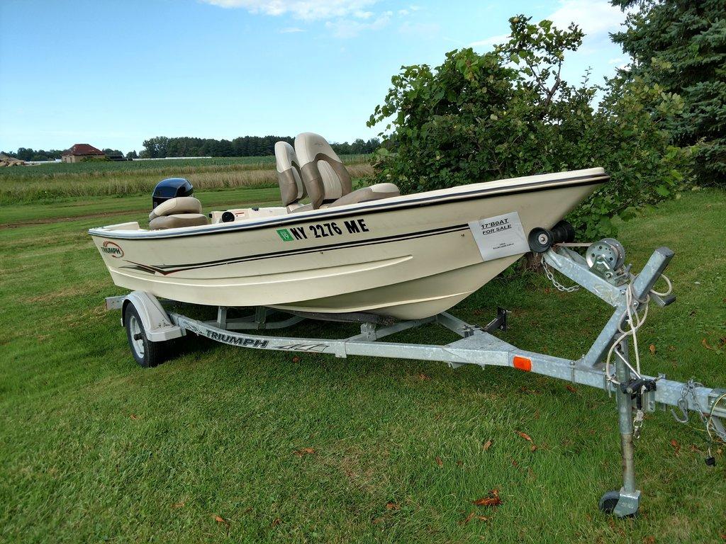 17' Triumph boat, trailer & 40 Hp Mercury outboard motor