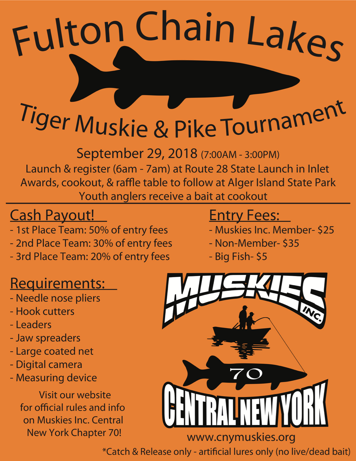 Fulton Chain of Lakes Tournament 9/29 - Musky, Tiger Musky