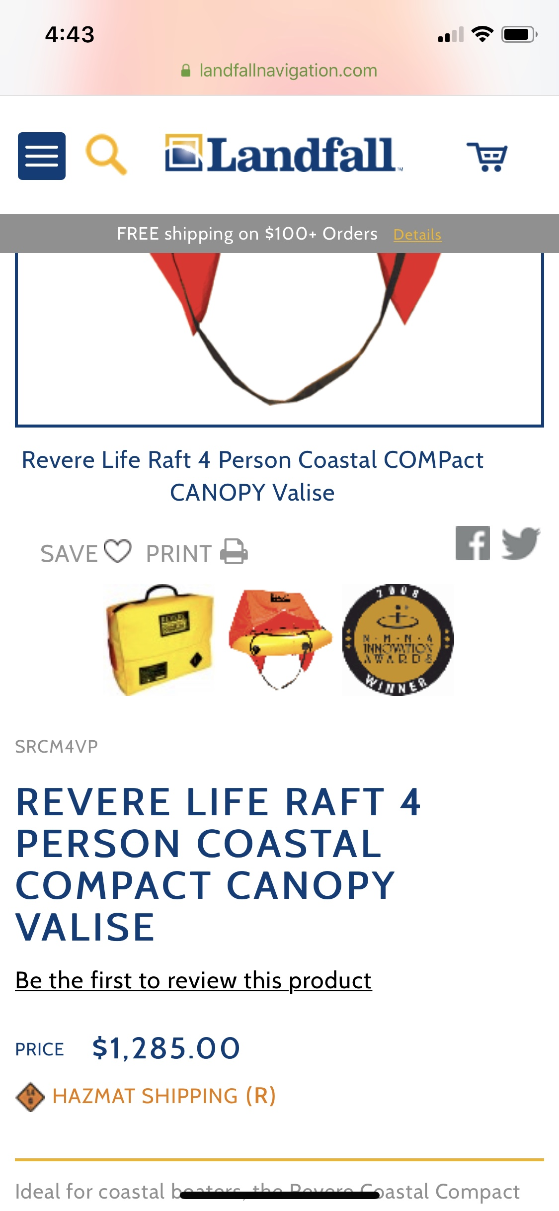 Revere coastal compact life raft 4 person - Classifieds